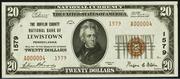 1929 $20 National Bank Notes Brown Seal