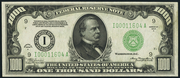 1934A $1000 Federal Reserve Note Green Seal
