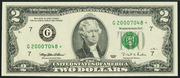 1995 $2 Federal Reserve Note Green Seal