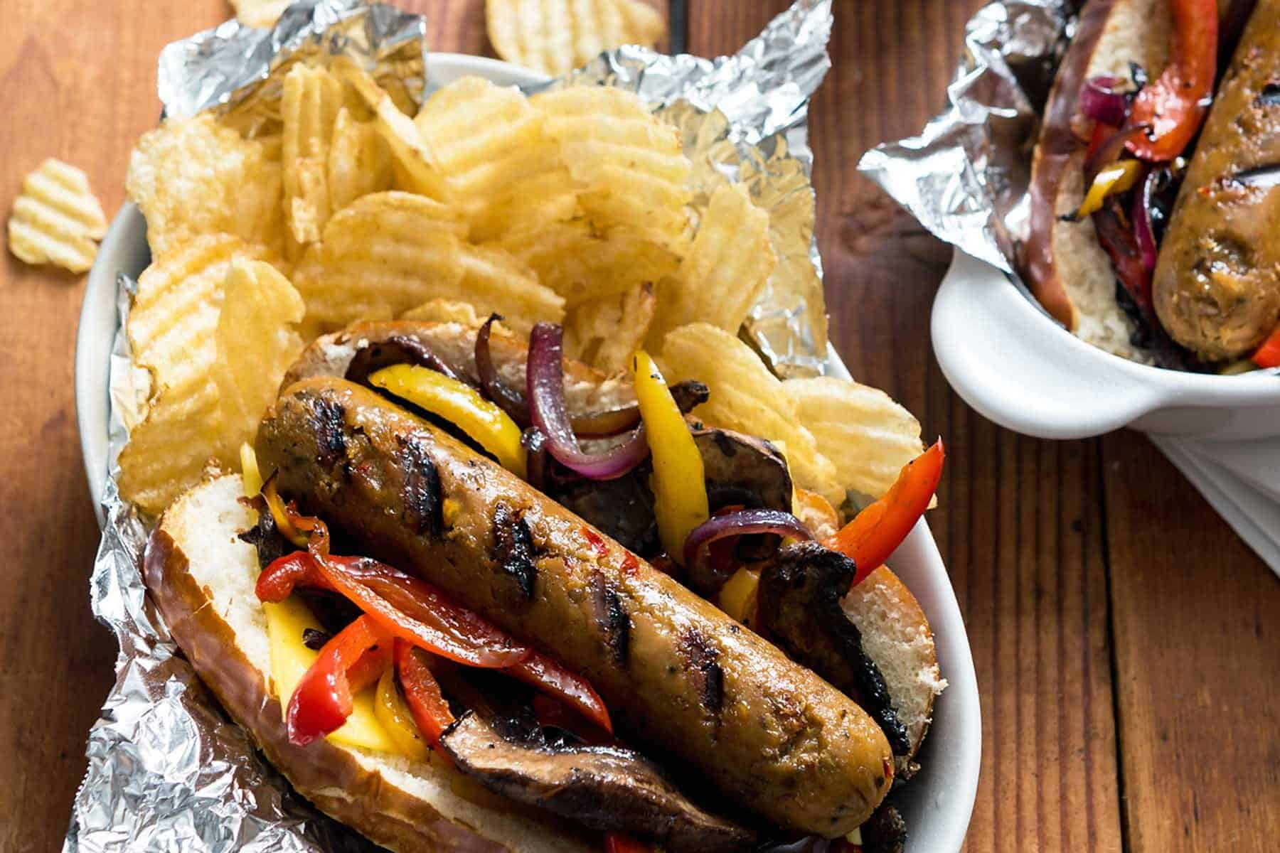 Summer might be over, but it doesn't mean that you can't keep grillin'! Tailgating season has just begun and these Grilled Plant-Based Beer Sausages are the perfect thing for it.