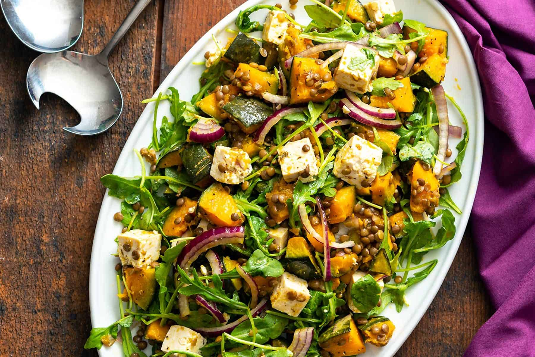 To ring in the season, I've finally brought a squash recipe to the table! (No pun intended) This Kabocha Squash Feta Salad is booming with flavor and color. #vegan #glutenfree