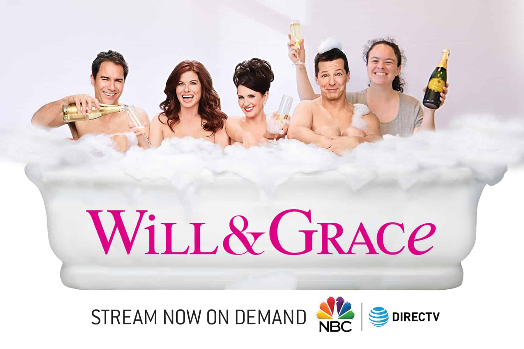 A woman soaks in a bubble bath with the cast of Will and Grace in this Boston green screen photo booths image