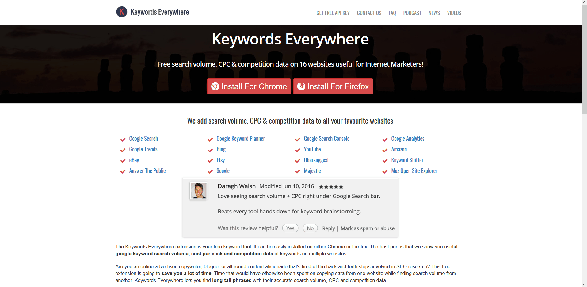 Keywordseverywhere free keyword to check how many searches are done for a keyword
