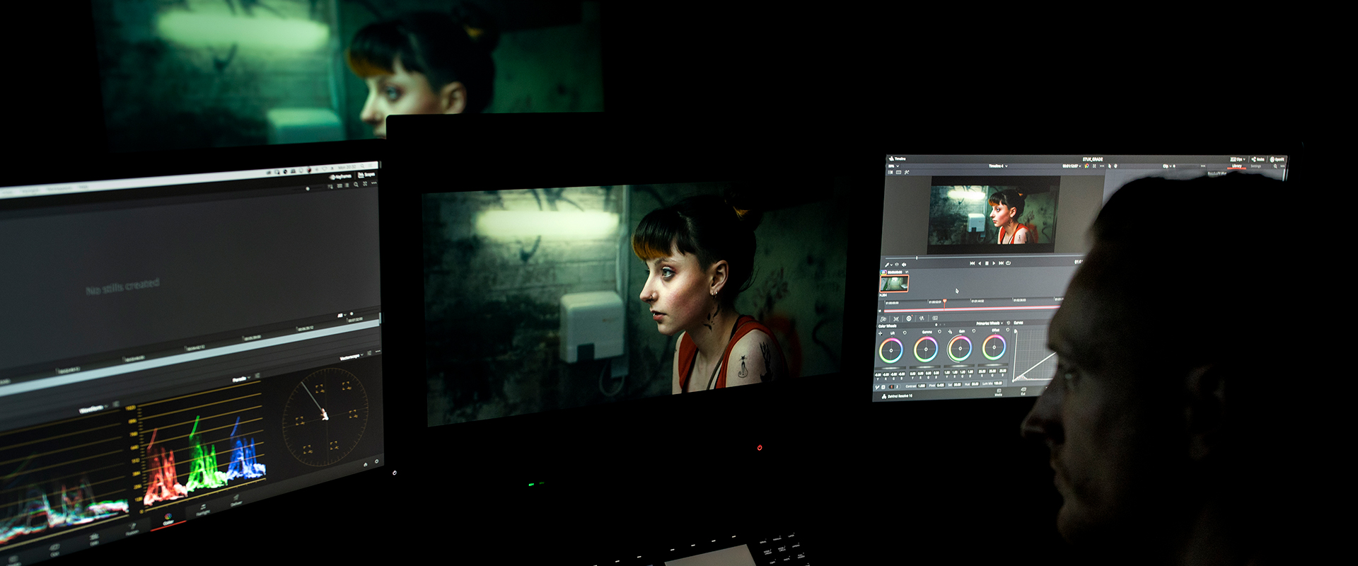 matt in the color grading theater