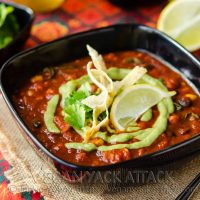 Loaded Enchilada Soup with Creamy Tomatillo Sauce