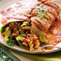 Mexican Mac Burrito with Red Sauce