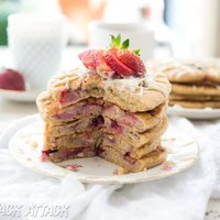 Fluffy Strawberry White Chocolate Pancakes