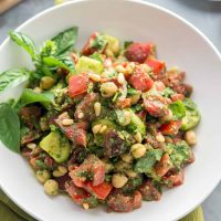 Oil-free Pesto Tomato Chickpea Salad