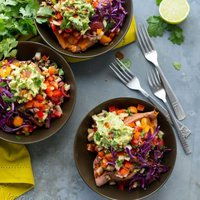 Burrito-Stuffed Sweet Potatoes {The First Mess}