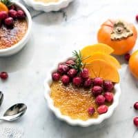 Persimmon Crème Brûlée with Sugared Cranberries