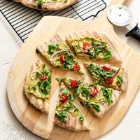 Grilled Sourdough Flatbread + White Bean Basil Spread