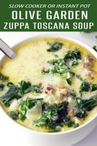 Fully Loaded Olive Garden Zuppa Toscana Soup Recipe! Make in the Slow Cooker or Instant Pot. This Olive Garden Soup is loaded with bacon, Italian Sausage, Potatoes and flavor. More Soup Recipes at | foodieandwine.com #olivegardenrecipes #olivegarden #zuppatoscana #olivegardensoup #dinnerrecipes #lunchrecipes #instantpot #slowcooker