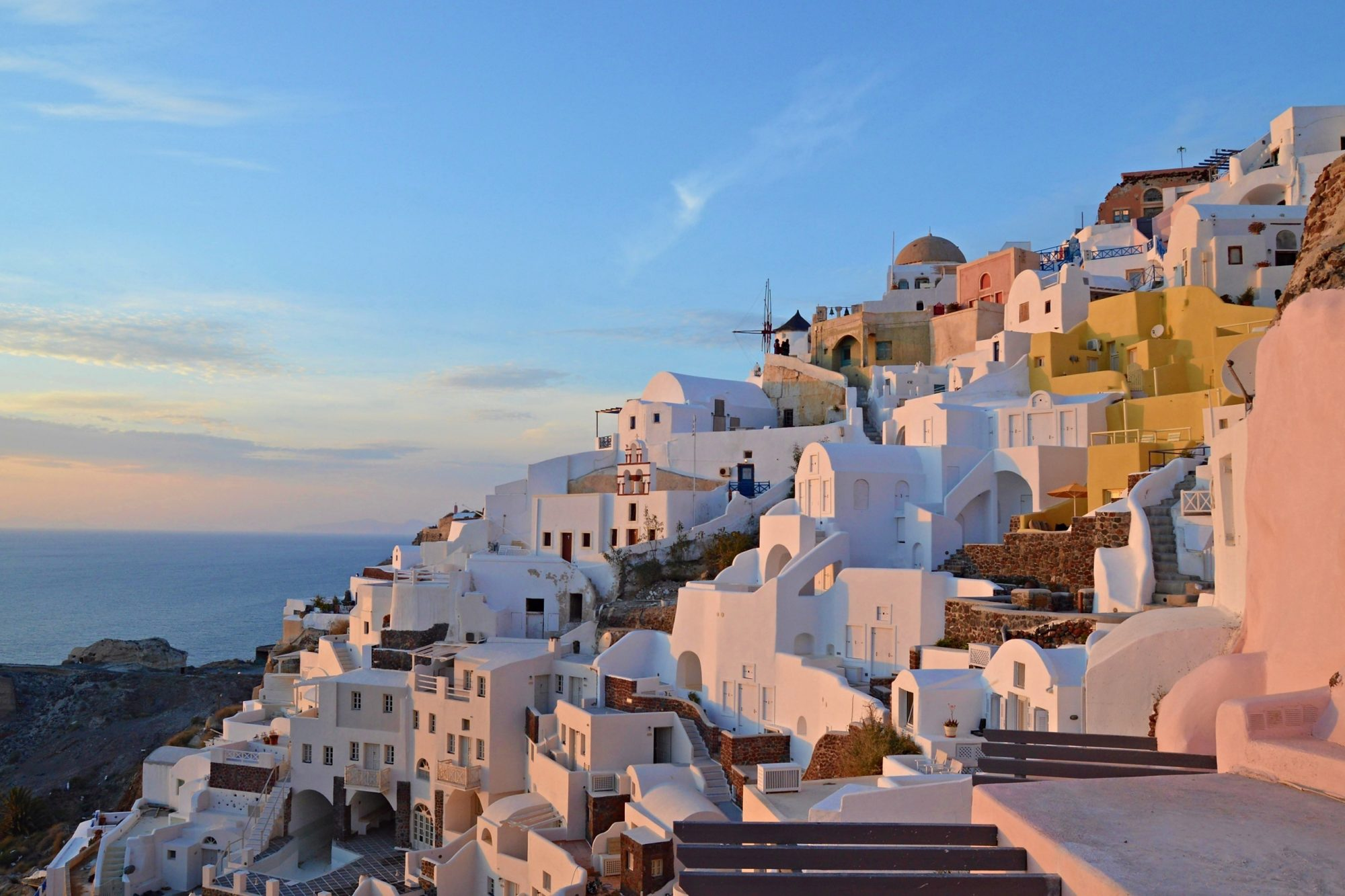 Sunset in Oia in Santorini Greece