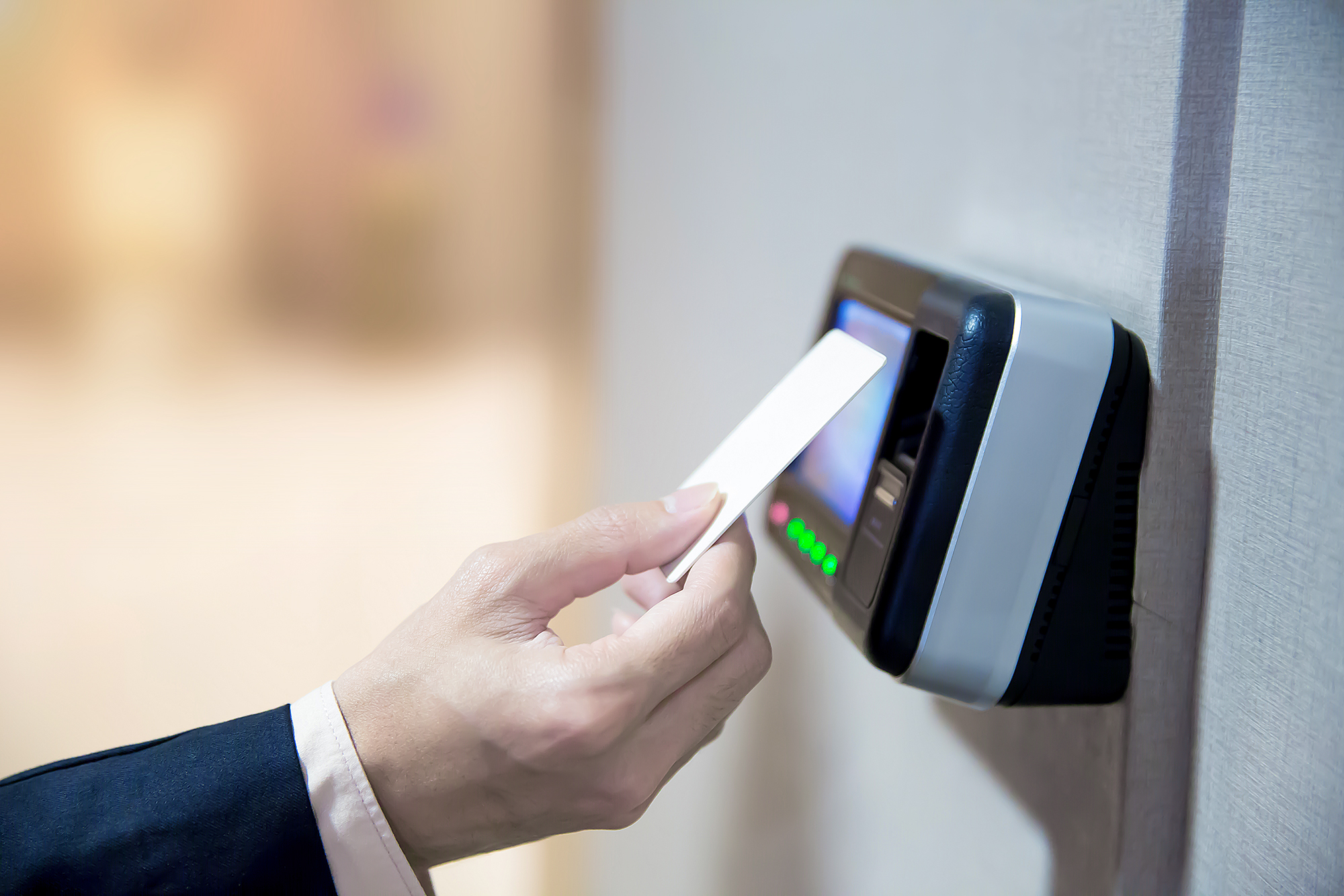 Engineers using key card to identity verification for access the