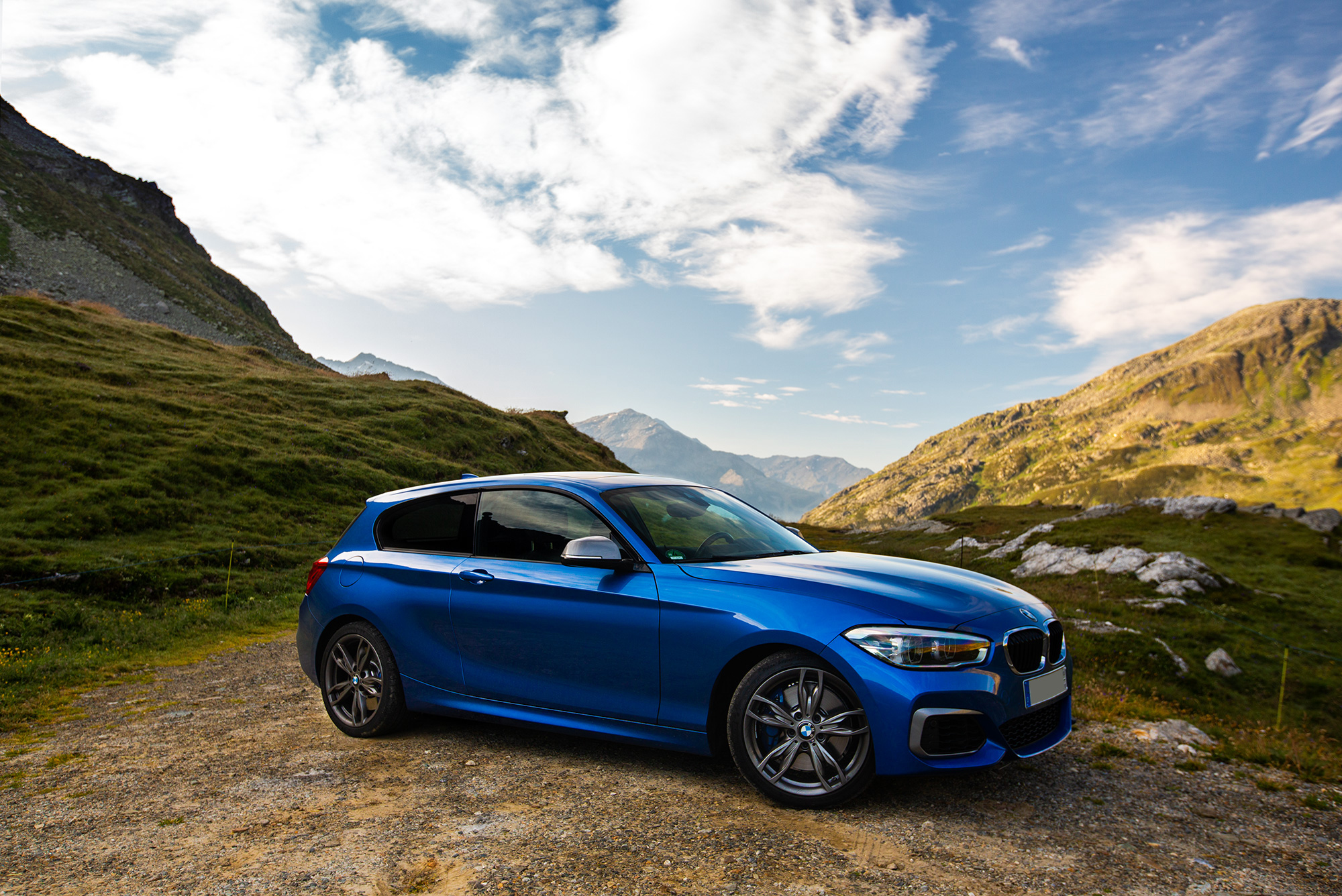 The BMW M140i on the Splugen Pass.