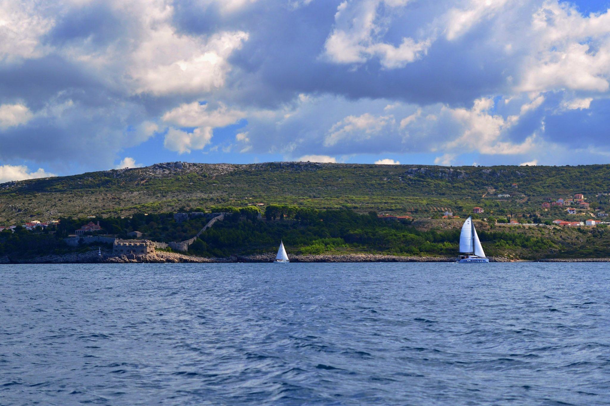 Pilos Castle. Boat trip around the Navarino Bay, Messinia, Greece