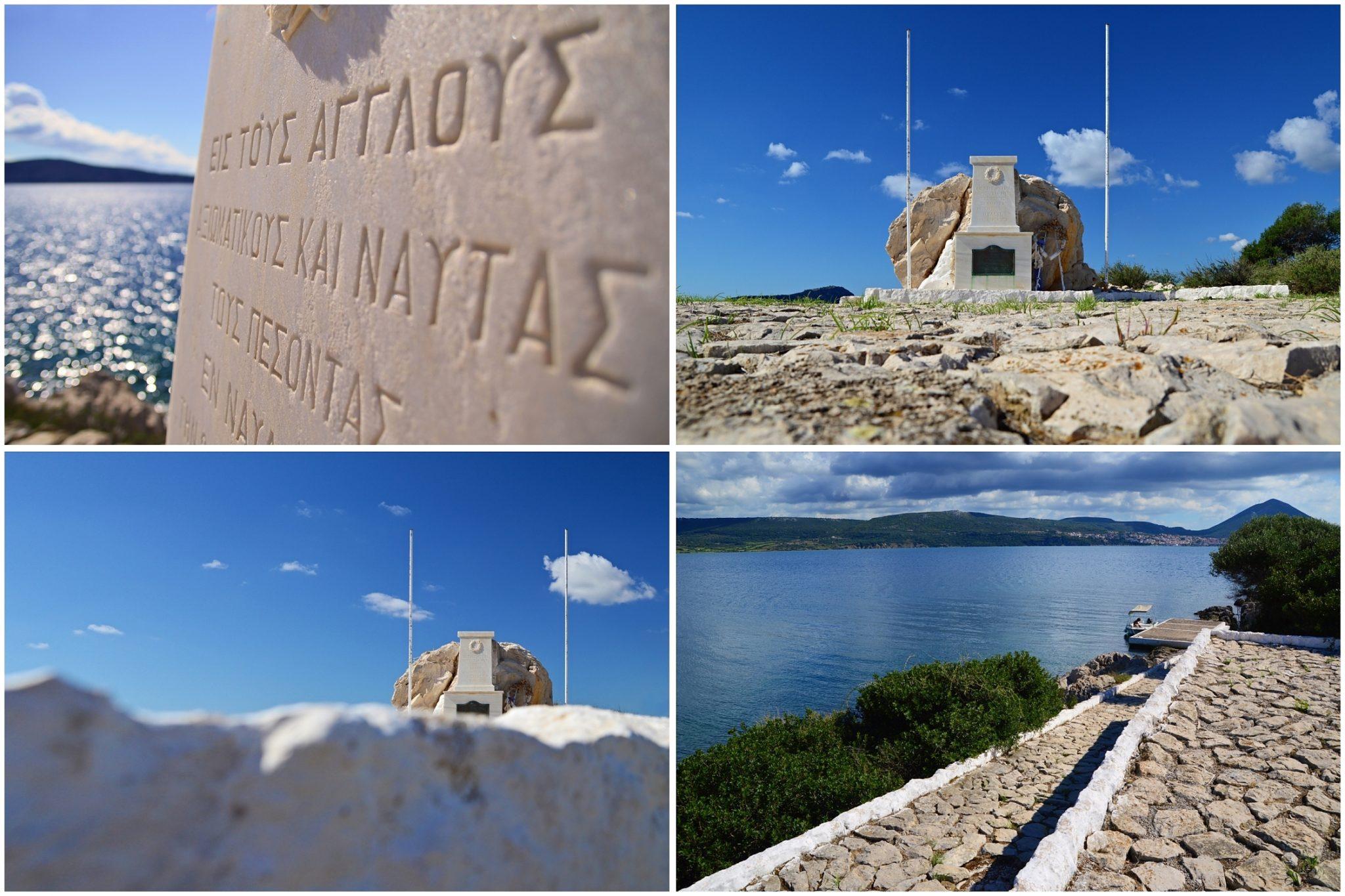 The English Memorial at Chelonaki. Boat trip around the Navarino Bay, Messinia, Greece