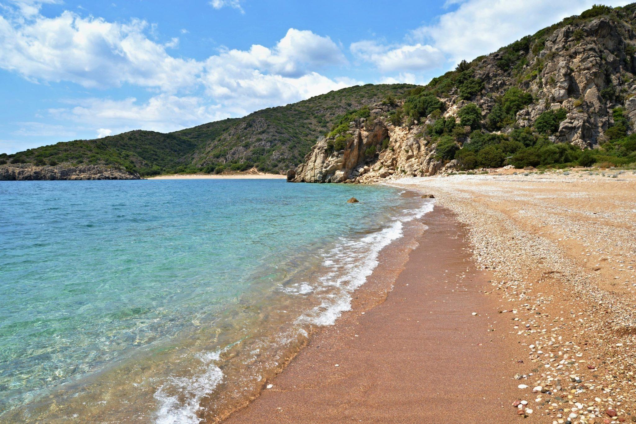 Secluded Marathi Beach at Akrotirio Akritas, Messinia, Greece
