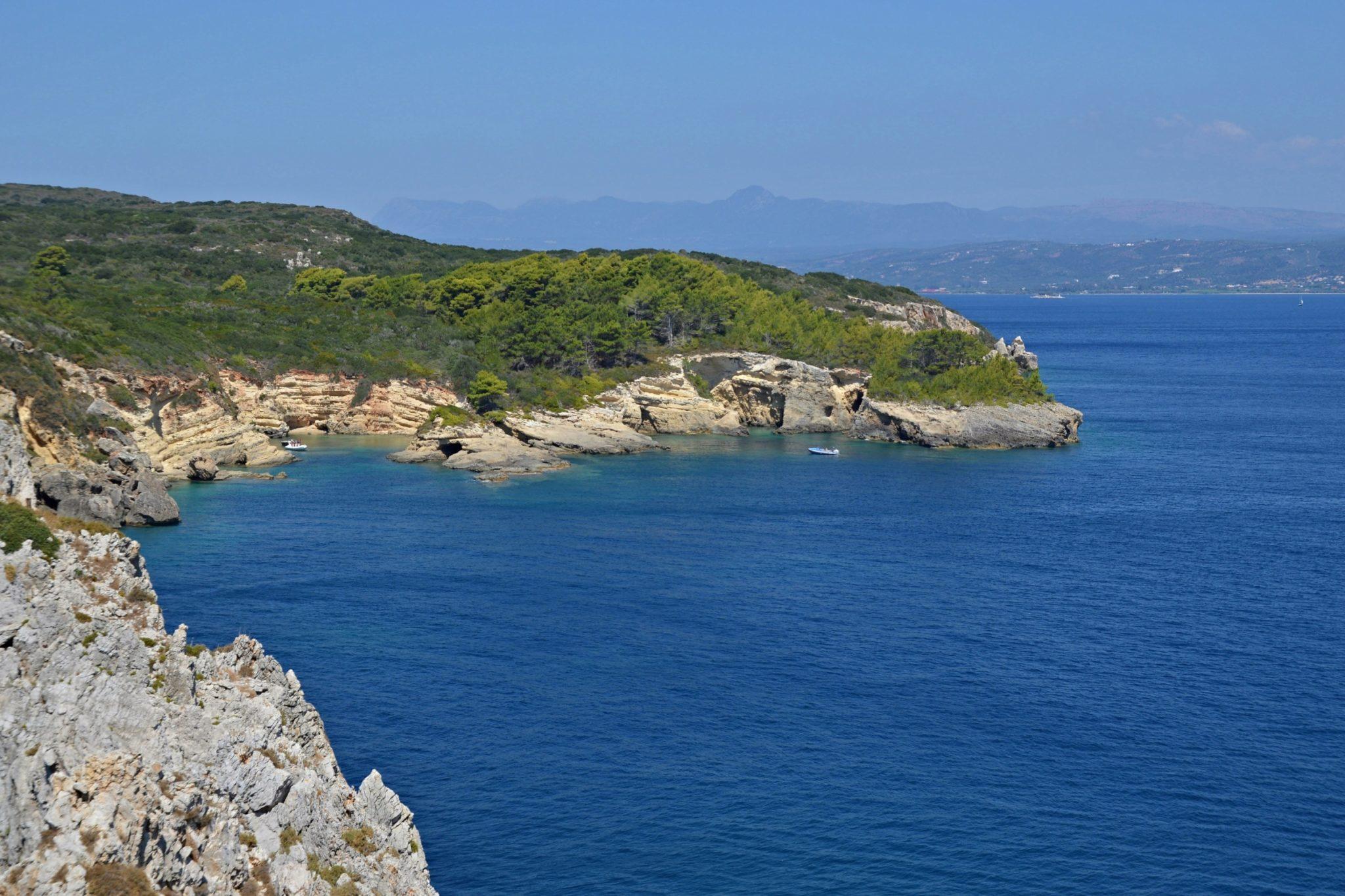 Tsichli Mpampa and the French memorial. Boat trip around the Navarino Bay, Messinia, Greece
