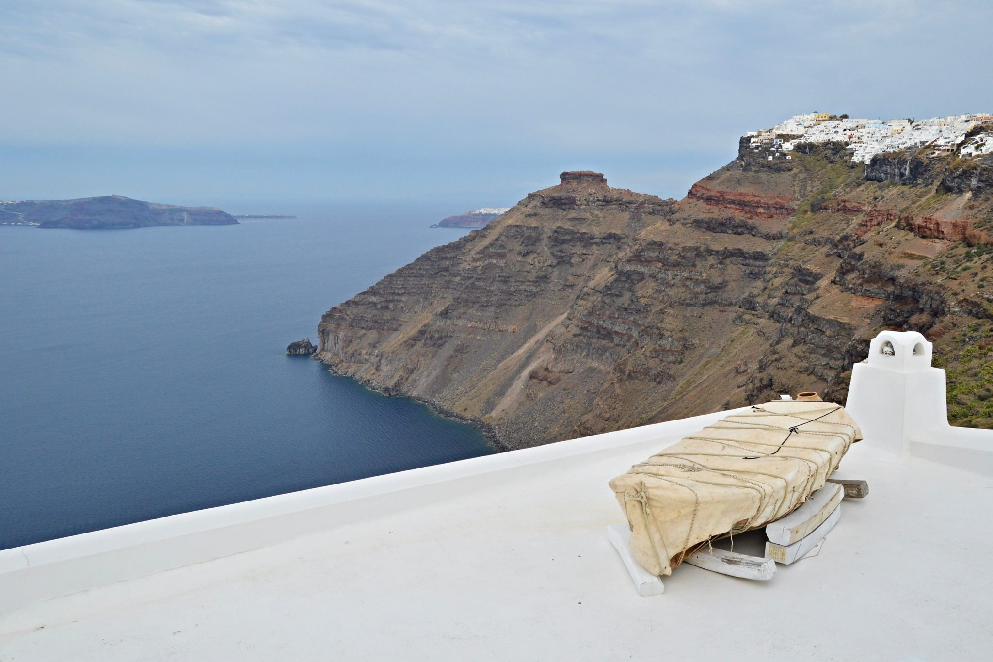 Looking towards the Skaros rock and Oia from Firostefani in Santorini