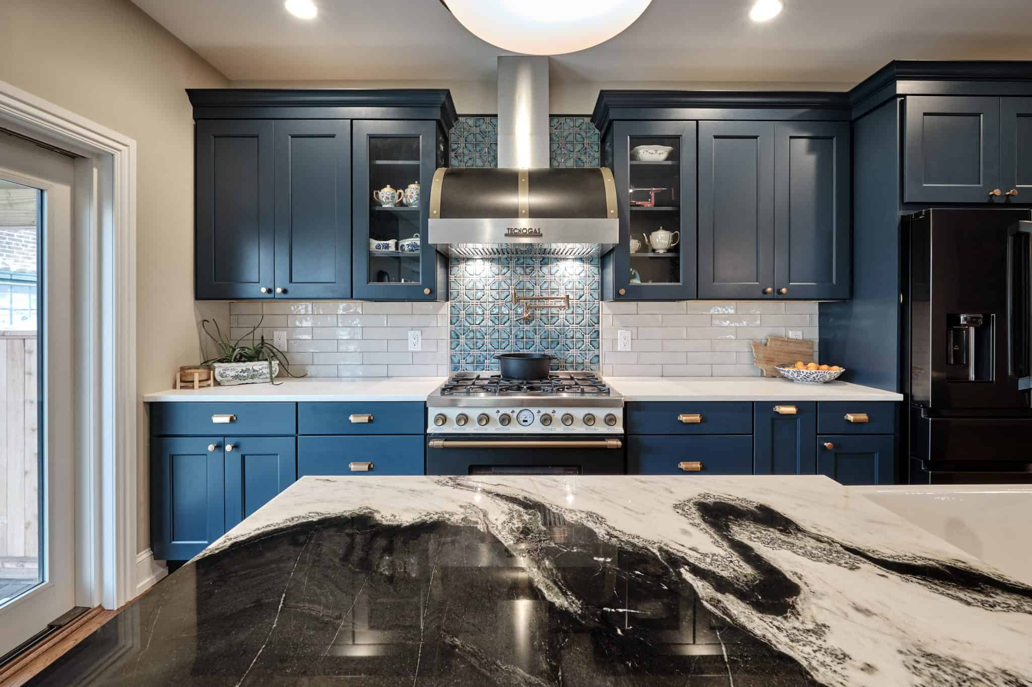 Blue Kitchen by a Home Remodeling Contractors in Bucks County PA