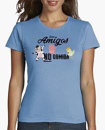 """Camiseta de manga corta pra mujer con animales haciendo el dab y el mensaje """"Somos amigos no comida"""""""
