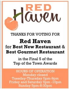 Red Haven poster thanking guests for voting them best new restaurant