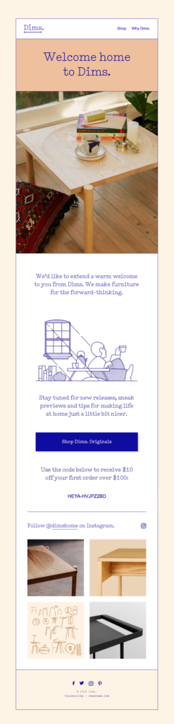 Welcome home to Dims lead nurturing email sequence example
