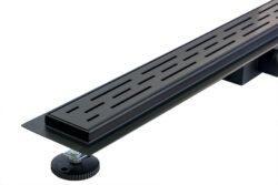 Douchegoot mat zwart RVS 60 cm met uitneembaar sifon