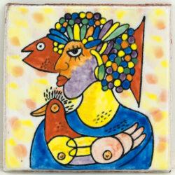 Portugese / Marokkaanse Decor tegels vrouw met vis en kip