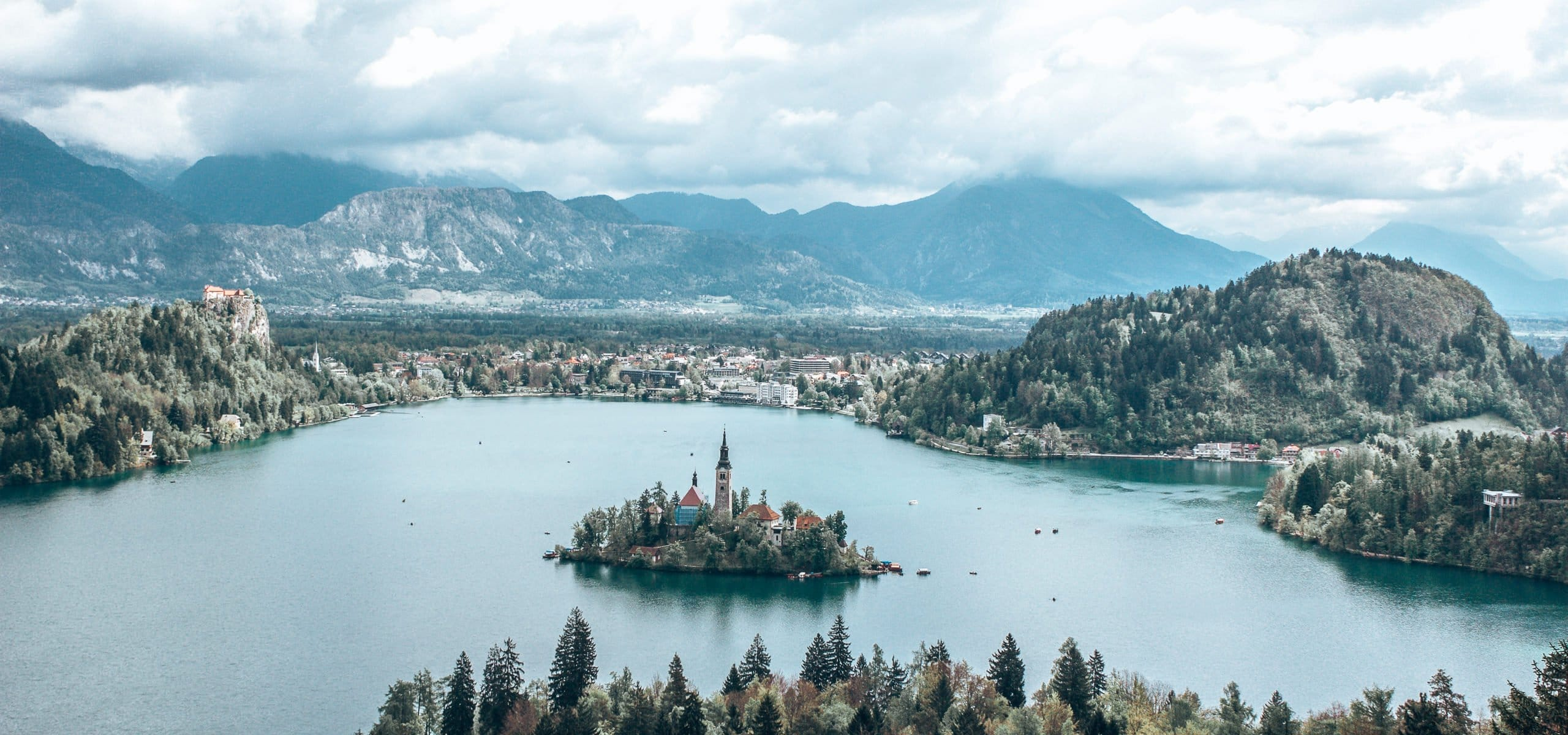 Looking out over Lake Bled and Bled Island from Ojstrica lookout, Slovenia
