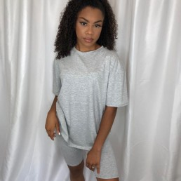 oversized T-shirt and cycling short set in Grey