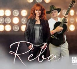 """A participant """"jams"""" with Reba for this Nashville green screen photo booth"""