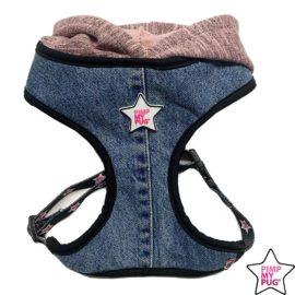 pettorina in jeans recycled con cappuccio di felpa
