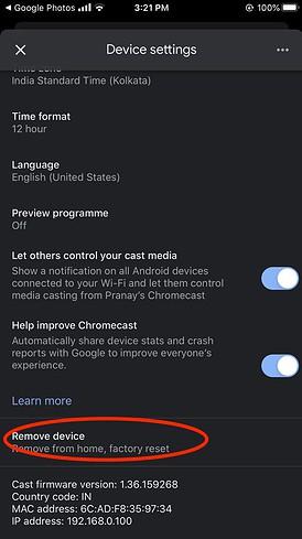 click remove device