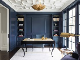 transitional home office with Benjamin Moore Hale Navy HC-154 wall and trim paint color