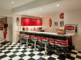 classic style underground basement with black and white ceramic floor