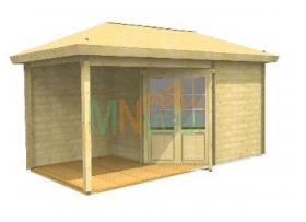 Caseta de Jardín Rosa 3500mm x 5500mm 28mm Grosor de la Madera Vista Frontal MNVEEK