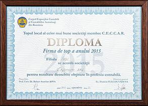 Diplomă - Topul național al celor mai bune societăți membre CECCAR al anului 2015