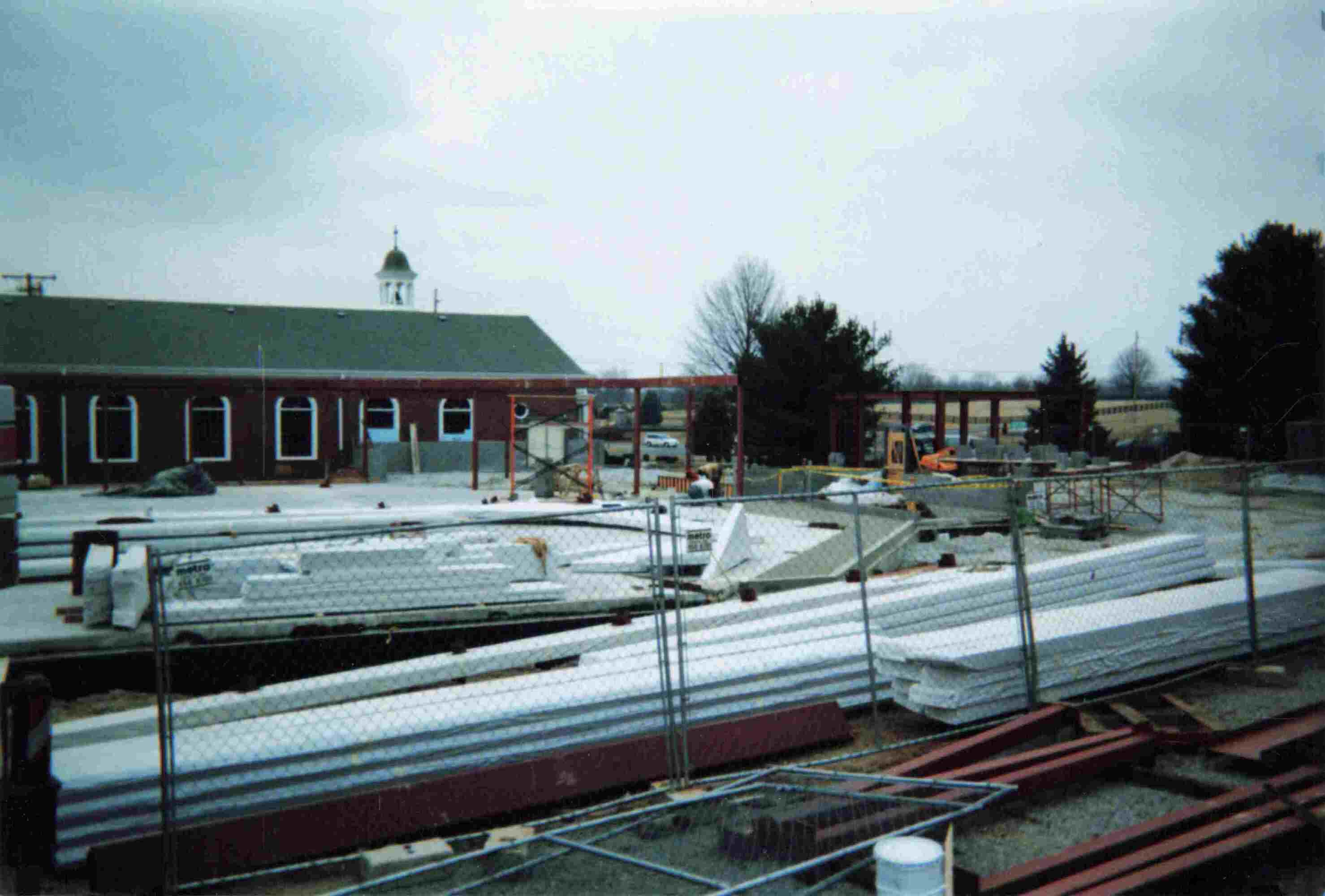 Picture during the construction of St John's current Sanctuary