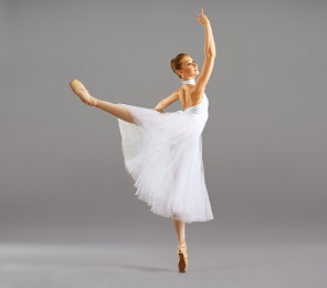 ballerina on pointe in ballet pose classical dance