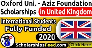Aziz Foundation Scholarships 2020 - For Masters