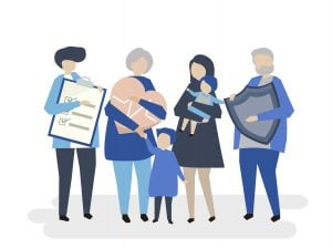 illustration of a family feeling secure