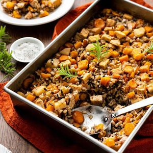 Autumn Squash Wild Rice Bake