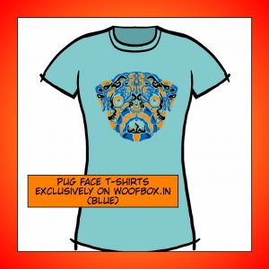 Pug Face T-Shirt for Her (Blue)