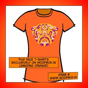 Pug Face T-shirts exclusively on woofbox.in Women (Amazing Orange)