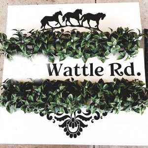 Front house vinyl sign with horses and street name and number. DIY project.