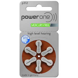 Power One Size 312 Mercury Free Hearing Aid Batteries