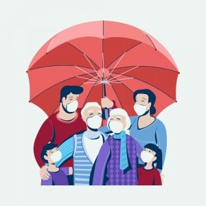 an umbrella illustrates a family being protect by their life insurance broker from financial distress. The family are all wearing face coverings