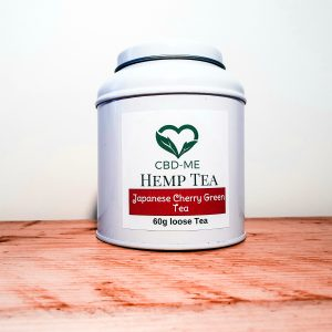 white tin of 60g loose hemp tea by cbd me